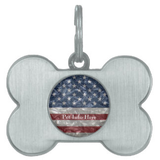 Bandera de los E.E.U.U. - arrugada Placas De Nombre De Mascota