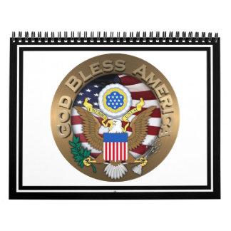 Bandera de los E.E.U.U. - blancos rojos y el azul Calendario