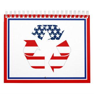 Bandera de los E.E.U.U. - blancos rojos y el azul Calendarios De Pared