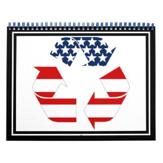 Bandera de los E.E.U.U. - blancos rojos y el azul Calendario De Pared
