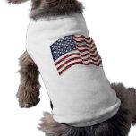 Bandera de los E.E.U.U. con el grano de madera Camisetas De Perrito