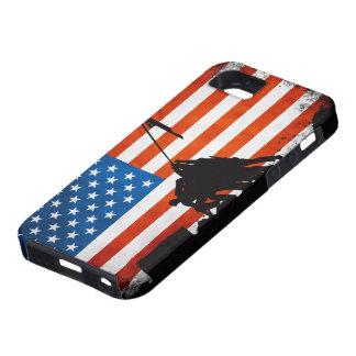 Bandera de los E.E.U.U. con las siluetas de los Funda Para iPhone 5 Tough