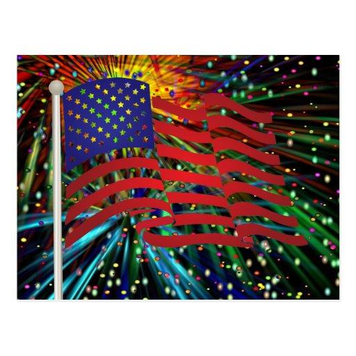 Bandera de los E.E.U.U. con los fuegos Postal