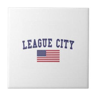 Bandera de los E.E.U.U. de la ciudad de la liga Azulejo Cuadrado Pequeño