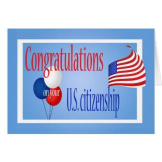 Bandera de los E E U U de la ciudadanía de los E Tarjeton