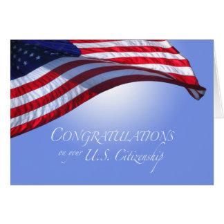 Bandera de los E.E.U.U. de la ciudadanía de los Tarjeta De Felicitación