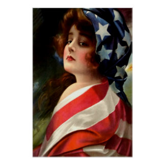 Bandera de los E.E.U.U. de la mujer el 4 de julio Póster