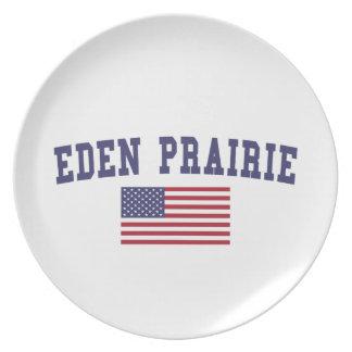 Bandera de los E.E.U.U. de la pradera de Eden Platos De Comidas