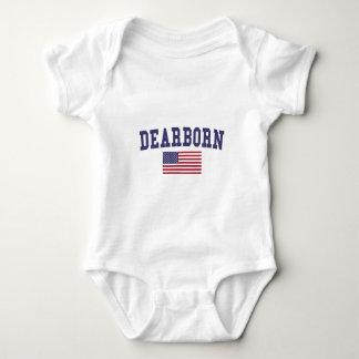 Bandera de los E.E.U.U. de las alturas de Dearborn Body Para Bebé