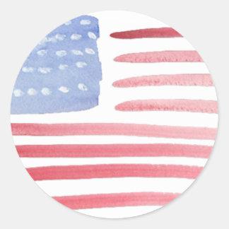 Bandera de los E.E.U.U. de los americanos Pegatina Redonda