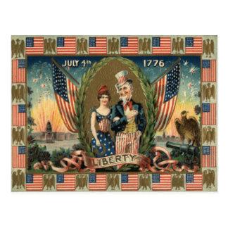 Bandera de los E.E.U.U. de los fuegos artificiales Tarjeta Postal
