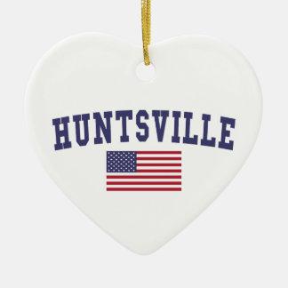Bandera de los E.E.U.U. del AL de Huntsville Adorno Navideño De Cerámica En Forma De Corazón