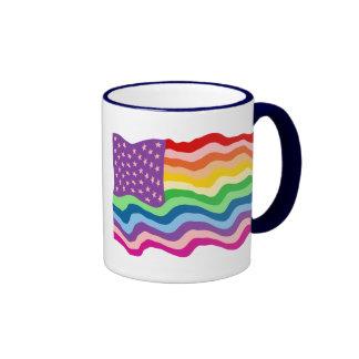 Bandera de los E E U U del arco iris Tazas De Café
