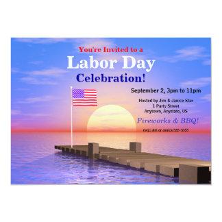 Bandera de los E.E.U.U. del fiesta del Día del Invitación 13,9 X 19,0 Cm