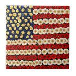Bandera de los E.E.U.U. del flower power Azulejos Ceramicos