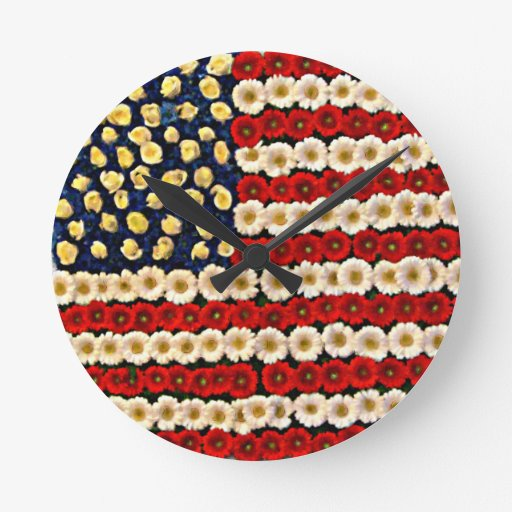 Bandera de los E.E.U.U. del flower power Relojes De Pared