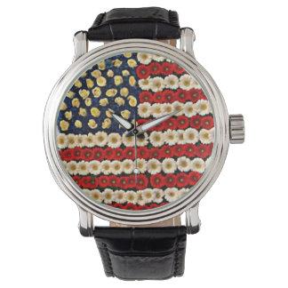 Bandera de los E.E.U.U. del flower power Reloj De Mano
