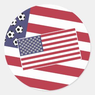 Bandera de los E.E.U.U. del fútbol del fútbol Pegatina Redonda