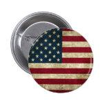 Bandera de los E.E.U.U. del Grunge Pin Redondo De 2 Pulgadas