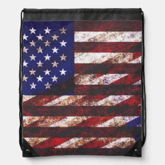 Bandera de los E.E.U.U. del Grunge - rayas y colla Mochilas