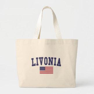 Bandera de los E.E.U.U. del Livonia Bolsa Tela Grande