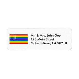 Bandera de los E.E.U.U. del orgullo gay - barras y Etiqueta De Remitente