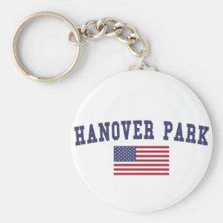 Bandera de los E.E.U.U. del parque de Hannover Llavero Redondo Tipo Pin
