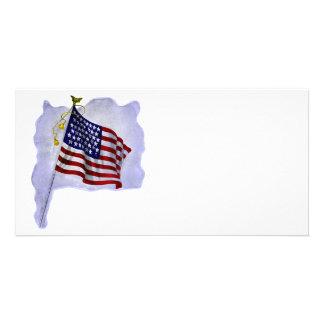 Bandera de los E.E.U.U. del vintage en colores Tarjetas Fotográficas