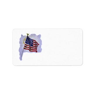 Bandera de los E.E.U.U. del vintage en etiqueta Etiqueta De Dirección
