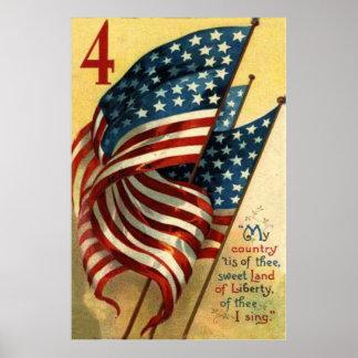Bandera de los E.E.U.U. el 4 de julio Póster