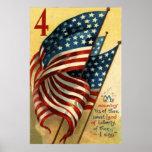 Bandera de los E.E.U.U. el 4 de julio Posters