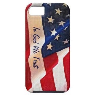 Bandera de los E.E.U.U. - en dios confiamos en iPhone 5 Carcasas