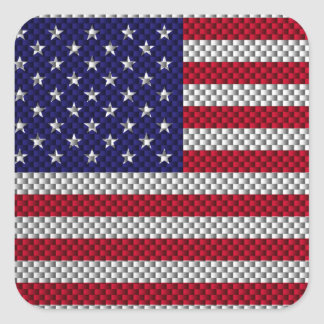 Bandera de los E.E.U.U. en fibra de carbono como Pegatina Cuadrada