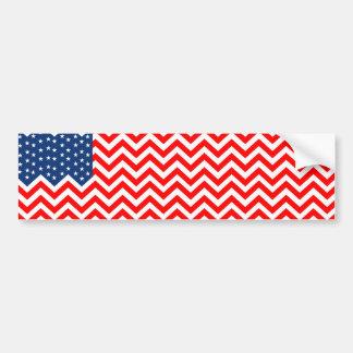 Bandera de los E.E.U.U. en las ondas de Chevron Pegatina Para Auto
