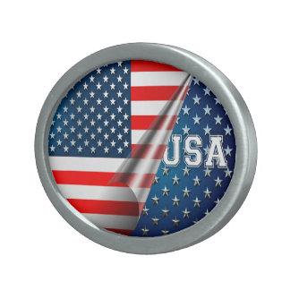 Bandera de los E.E.U.U. Hebilla De Cinturón Oval