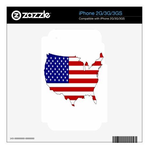 bandera de los E.E.U.U. Calcomanías Para iPhone 3GS