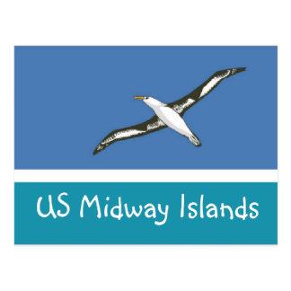 Bandera de los E E U U Midway Islands Postales