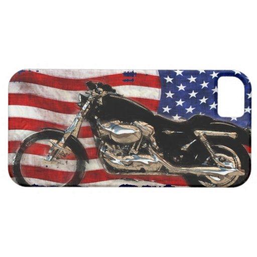 Bandera de los E.E.U.U., motocicleta, moto, cerdo, iPhone 5 Carcasas