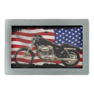 Bandera de los E.E.U.U., motocicleta, moto, cerdo Hebilla De Cinturón Rectangular