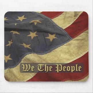 Bandera de los E E U U nosotros la gente Mousepa Alfombrilla De Ratones