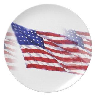 Bandera de los E.E.U.U. que agita Platos De Comidas