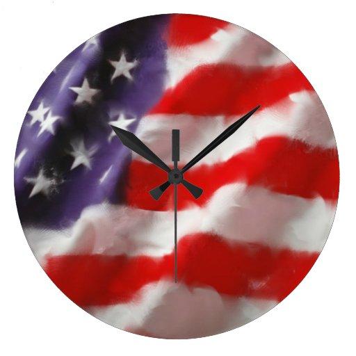 Bandera de los E.E.U.U. Reloj Redondo Grande