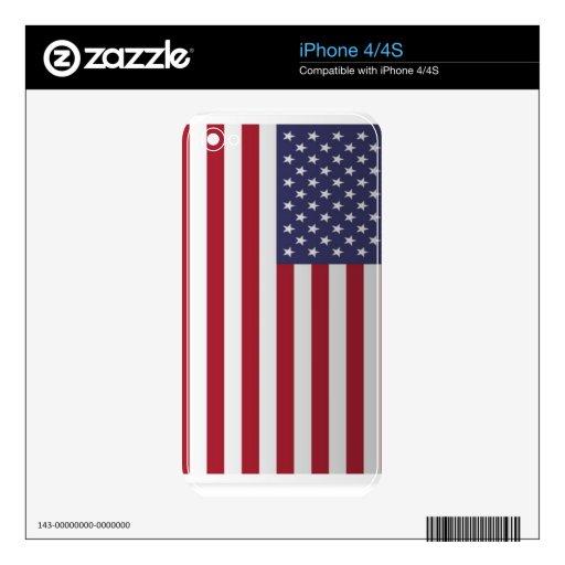 Bandera de los E.E.U.U. - roja, blanca, y azul Skins Para eliPhone 4S