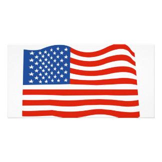 Bandera de los E.E.U.U. Tarjeta Con Foto Personalizada