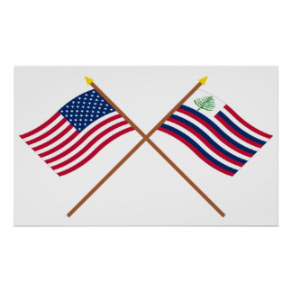 Bandera de los E.E.U.U. y bandera cruzadas de la m Posters