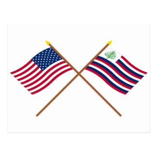 Bandera de los E E U U y bandera cruzadas de la m Postales