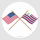 Bandera de los E.E.U.U. y bandera cruzadas de la Pegatina Redonda
