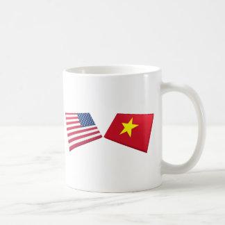 Bandera de los E E U U y de Vietnam Vietnam del Taza De Café