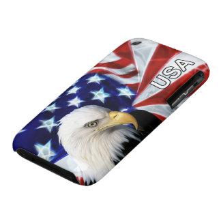 Bandera de los E.E.U.U. y patriota de Eagle calvo iPhone 3 Funda