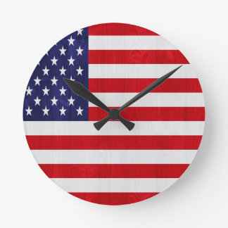 Bandera de los Estados Unidos de América Reloj Redondo Mediano